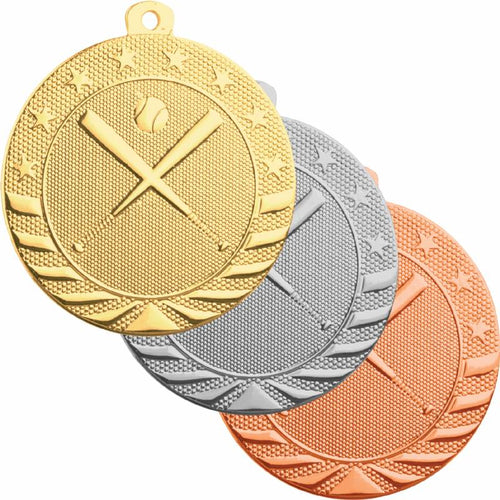 Gold, silver, and bronze baseball medals featuring two bats crossed in an