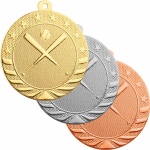"Gold, silver, and bronze baseball medals featuring two bats crossed in an ""X"" pattern with a baseball on top"