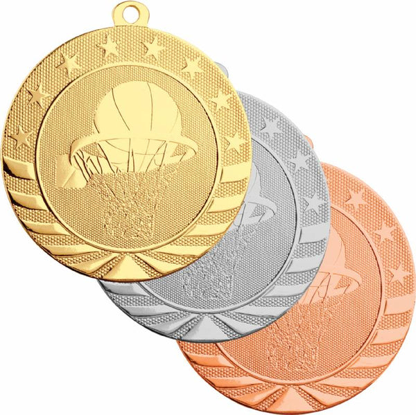 Gold, silver, and bronze baseball medals featuring a basketball going into a basketball hoop