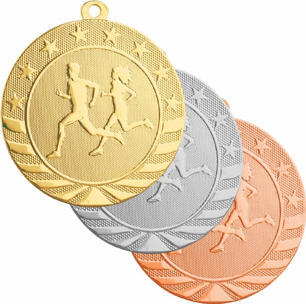 Gold, silver, and bronze cross country medals featuring a male and female cross country runner in stride