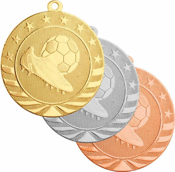 Gold, silver, and bronze soccer medals featuring a soccer cleat and a soccer ball
