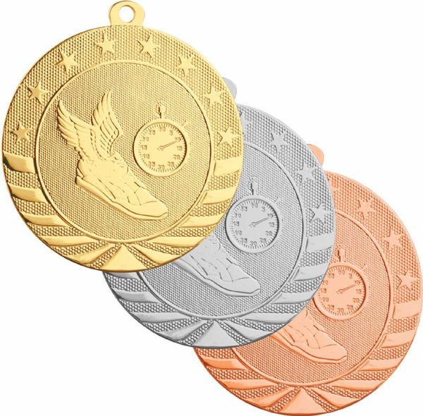 Gold, silver, and bronze track medals featuring a winged shoe and stop watch design