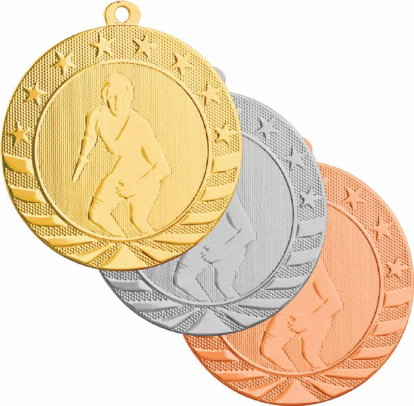 Gold, silver, and bronze wrestling medals featuring a wrestler in a singlet