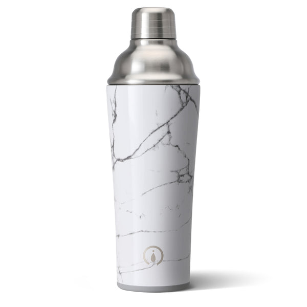 Swig brand cocktail shaker featuring a silver lid. The shaker has a white and grey marble print design.