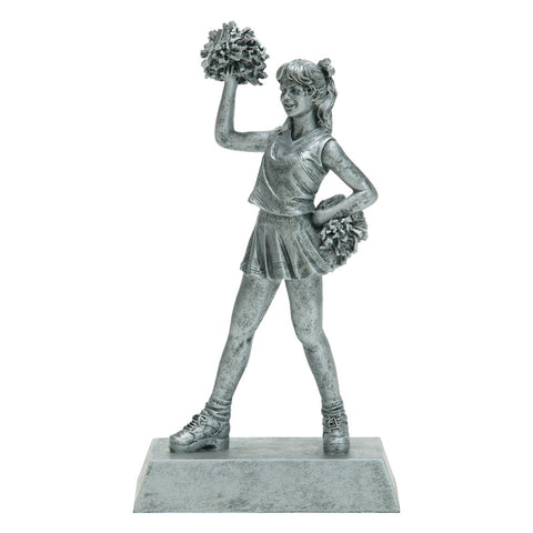 Silver cheerleading resin featuring a rectangular base and a young cheerleader with pom poms.