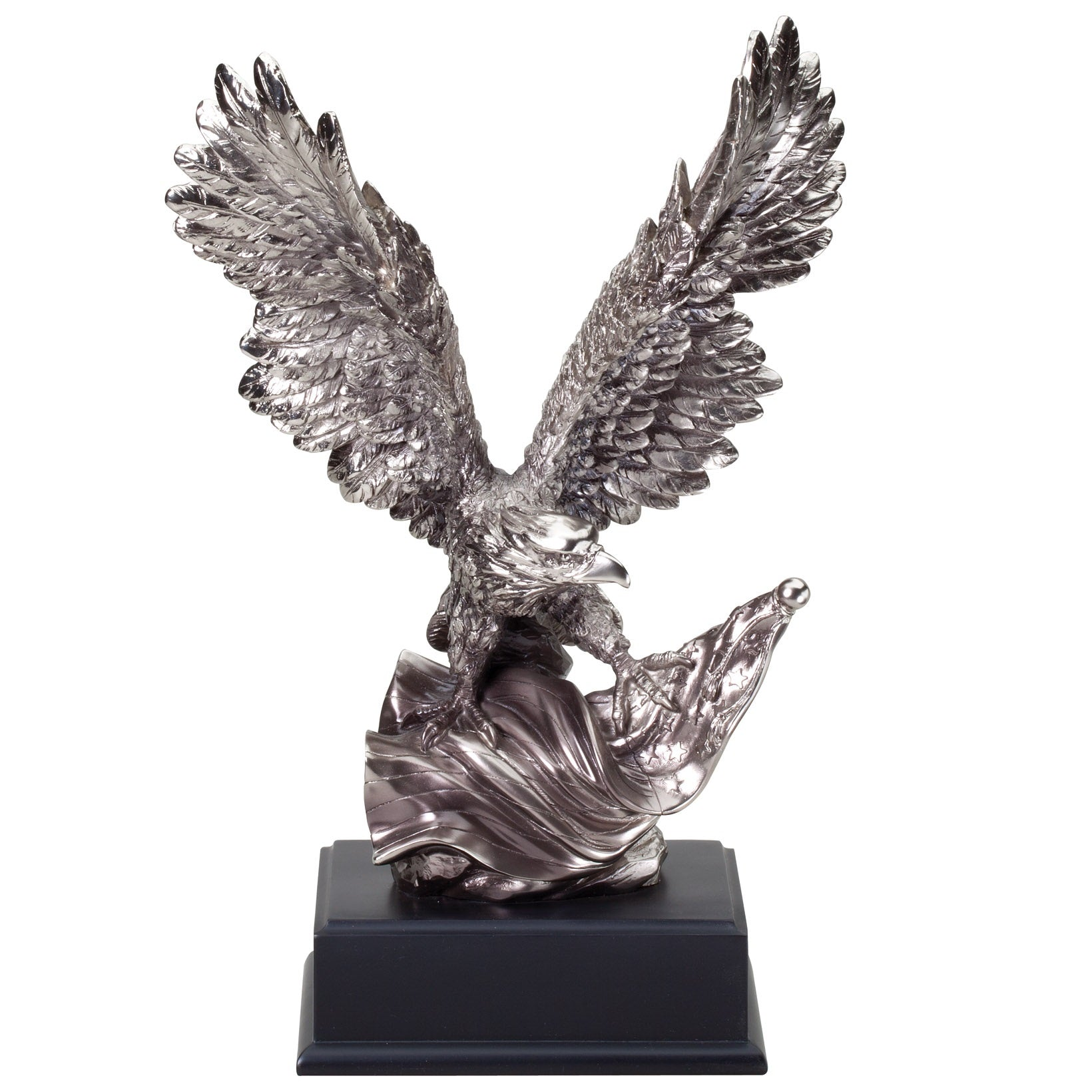 Large silver eagle resin featuring a black square wooden base and an eagle landing on an American flag with its wings spread resin attached.