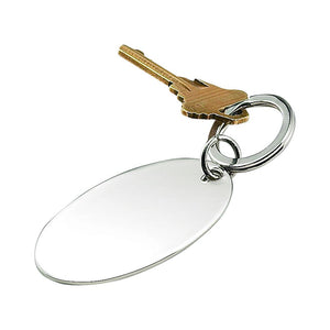 Shiny silver oval shaped keychain perfect for monogramming! Silver key ring is attached.