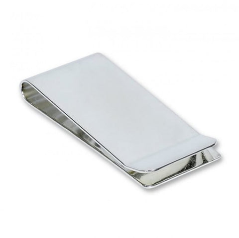 Classic rectangle shiny silver money clip that can be monogrammed on the front.