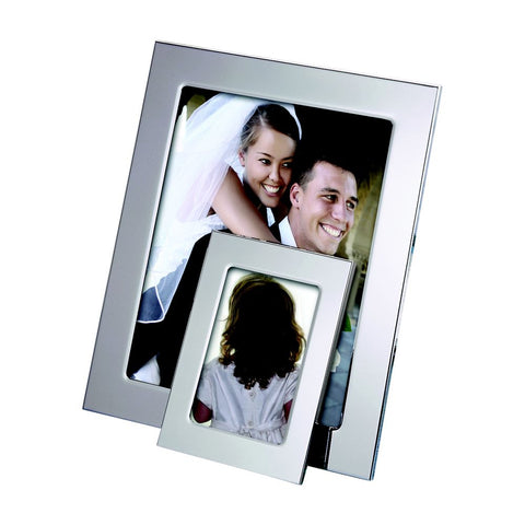 shiny silver engraved photo frame