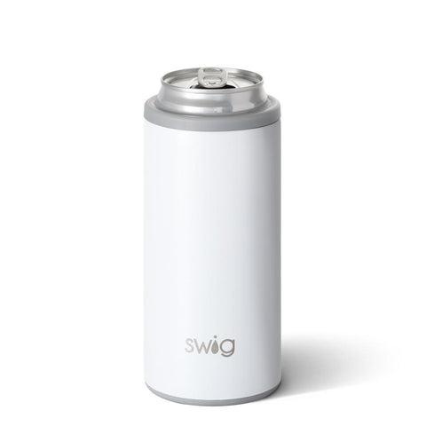 Swig brand 12 oz skinny can koozie. The can cooler is a pearl glittery white color.