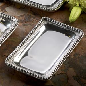 Shiny silver small rectangle shaped tray with a beaded edge. Center of the tray can be engraved with a special message.