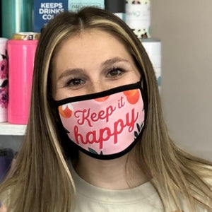 Fun, pink protective face mask with flowers