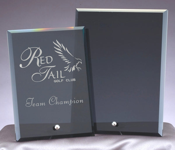 Standing smoke colored see through plaques engraved with company logo and beveled on each side. Awards are rectangle shaped and features a silver stand at the bottom.