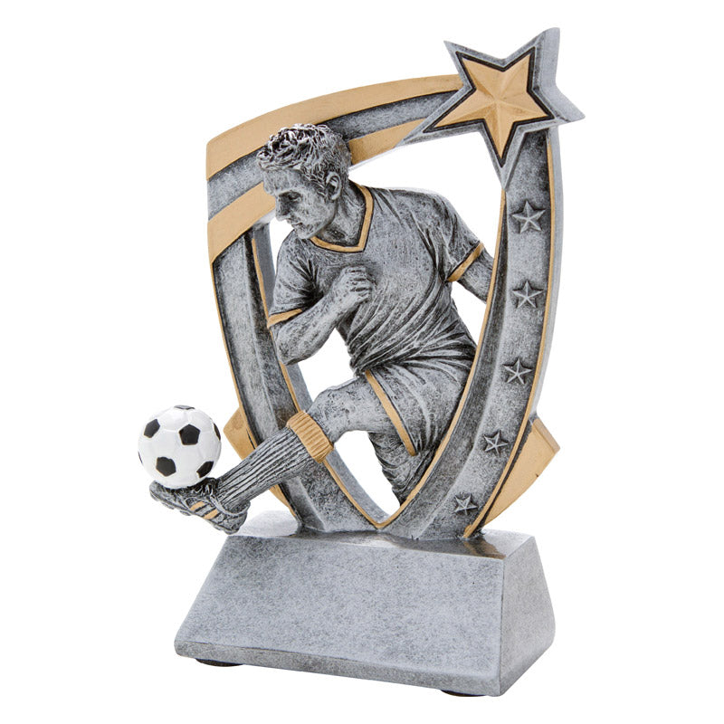 Shield shaped soccer trophy featuring a silver design and a male soccer player with his leg extended and a soccer ball resting on his foot.