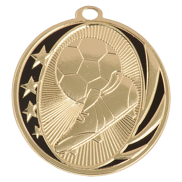 Gold and black soccer medal with stars, soccer ball, and soccer cleats design