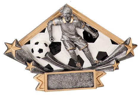 Diamond shaped soccer resin featuring two shooting stars shooting out from the left and right side, and a female soccer player in the middle as if she is running. The background of the diamond shape is a soccer ball pattern.
