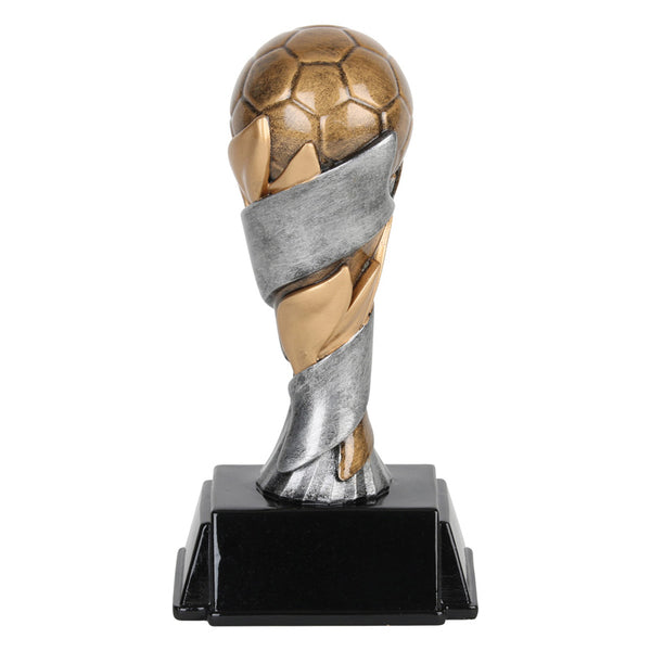 Soccer trophy featuring a rectangle shaped black base, a silver and gold pedestal, and a bronze soccer ball sitting on top.