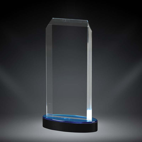 Clear acrylic award with beveled edges and a black and blue base.
