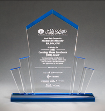 Load image into Gallery viewer, Large spotlight shaped acrylic award with a pointed top and a blue base that shines throughout.