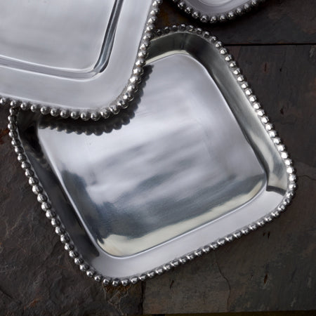 Shiny silver  large square shaped tray with a beaded edge. Center of the tray can be engraved with a special message.