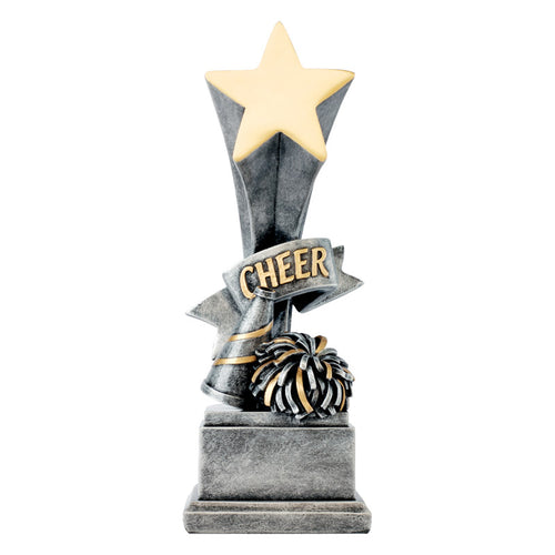 Silver cheerleading resin featuring a square base, a star on top, and a megaphone and pom pom at the bottom with the word