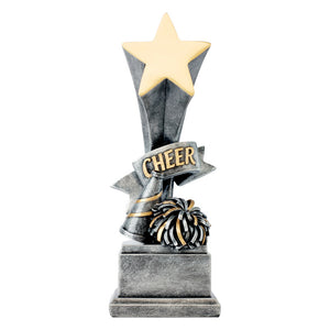 "Silver cheerleading resin featuring a square base, a star on top, and a megaphone and pom pom at the bottom with the word ""CHEER"" in the middle."