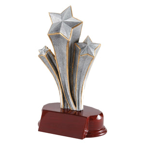 Victory trophy featuring an oval shaped maroon glossy base with three silver shooting stars attached to the base. The stars are small, medium, and large and are outlined in gold.