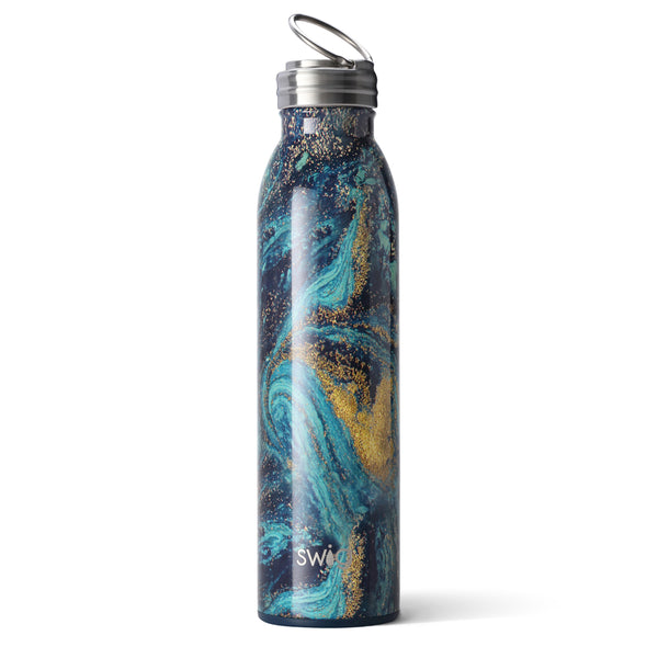 "Swig brand 20 oz bottle tumbler featuring a screw off lid. The tumbler is navy blue, turquoise, and a gold design to resemble the famous Van Gogh painting ""Starry Night"