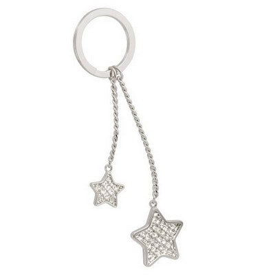 Silver keychain featuring two chains attached to the key ring. One is longer, one is shorter. At the end of each chain hangs a large glitter star and a small glitter star.