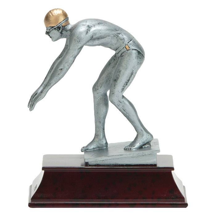 Swim trophy featuring a rectangle maroon shaped base and a silver male swimmer on a stand as if he is about to dive off.