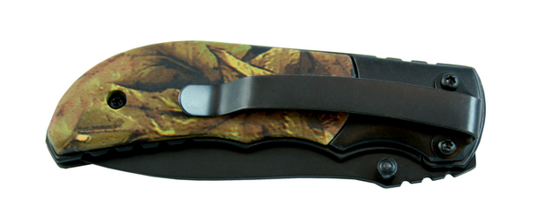 Large tactical camouflage knife with closed blade. Black clip attached to the back of the knife.