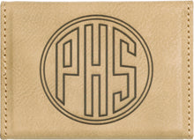 Load image into Gallery viewer, Tan leatherette magnetic business card holder engraved with a monogram on the back.