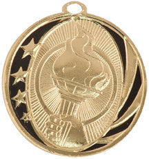 Gold and black victory medal with stars and victory torchdesign