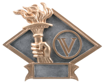 "Silver and gold diamond shaped victory trophy featuring a gold outline, hand holding a torch with a flame, and a ""V"" in a gold outlined circle."