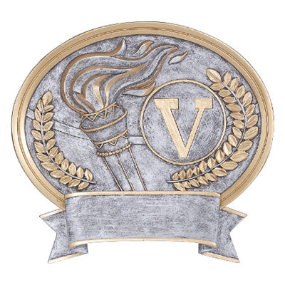 "Silver oval victory themed resin featuring a torch, a gold wreath, and a ""V""  inside of an outlined circle."