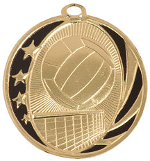 Gold and black volleyball medal with stars and volleyball net design