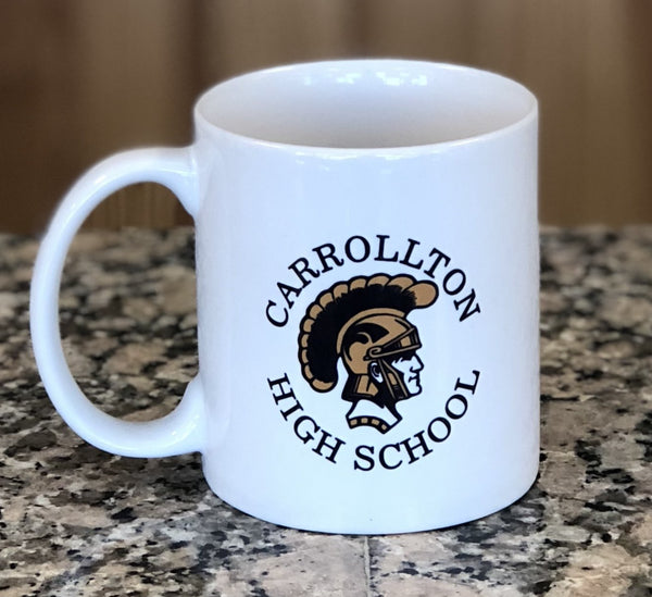 White engraved coffee mug with a Trojan school mascot.