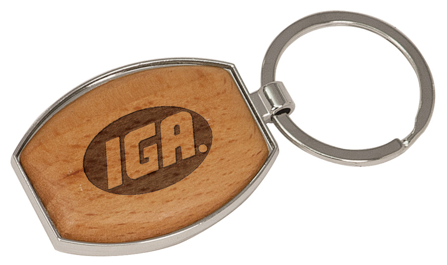 Personalized wood and metal keychain.