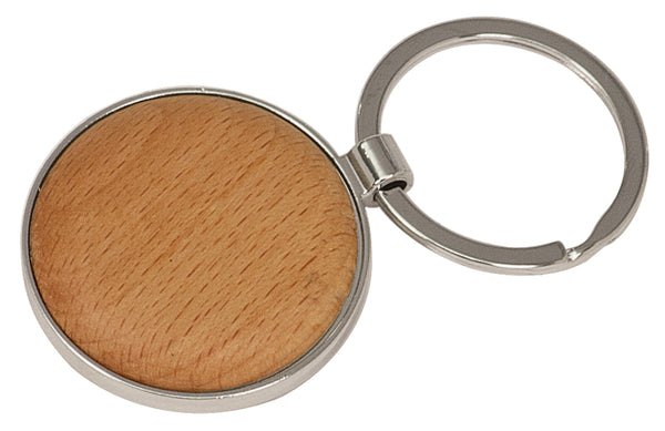 Personalized round wood and metal keychain.