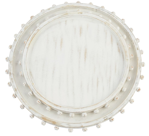 Large round wood white washed tray featuring a beaded edge and can be engraved with a special message in the center.