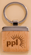 Personalized square wood and metal keychain.