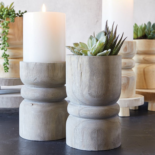 Wooden Pillar Candle Holder - Grey
