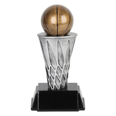 Basketball trophy featuring a black rectangular base and a silver basketball net with a bronze basketball sitting on top.
