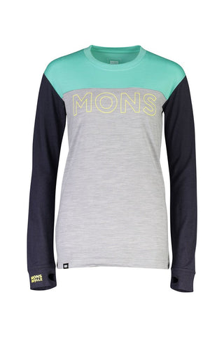 Mons Womens Yotei BF Tech LS Mint Edge Long Sleeve Top
