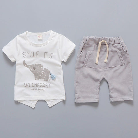 Elephant Shorts and Shirt Set (Grey/Beige)