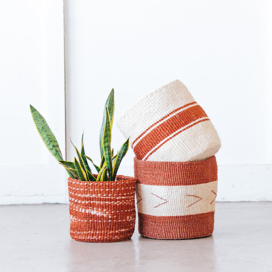 Medium Storage Basket: Rusty Stripe