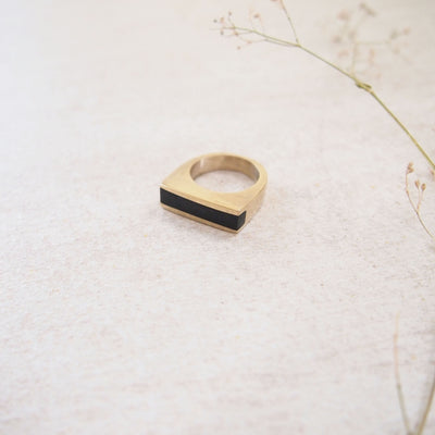 Black Horn Bar Ring