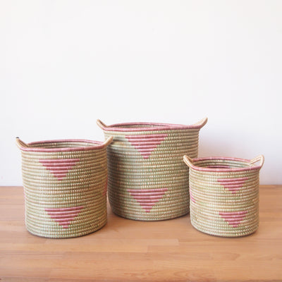Handled Storage Basket: Pink Triangle