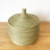 Wave Floor Lidded Basket: Natural