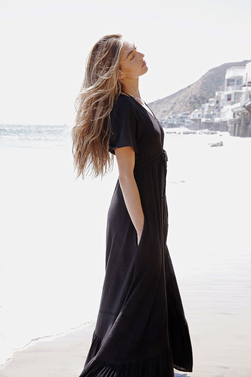 Model wearing the lady & the sailor Louie Dress in Black Gauze.